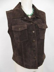 Harolds Sz L Velvety Brown Suede Vest Western Jeans Style Snap Front $