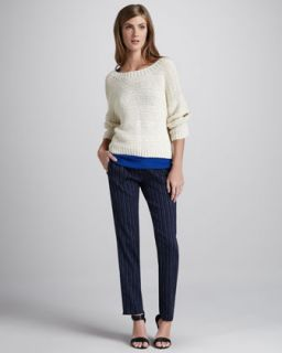Vince Textured Boat Neck Sweater & Striped Drawstring Pants   Neiman