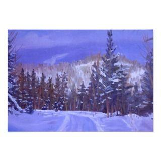 Winter Splendor Oil Landscape Painting Personalized Invitations