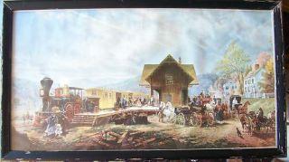 ANTIQUE VINTAGE PRINT BY E L HENRY 1887 LOCOMOTIVE TRAIN STATION