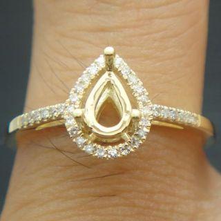 Gold Diamond Semi Mount Engagement Rings 4x6mm Pear Cut Setting