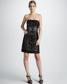 Sue Wong Feather Bottom Embroidered Dress