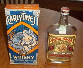 1920s Early Times Kentucky Whiskey Sour Mash Pint Bottle With Box Very