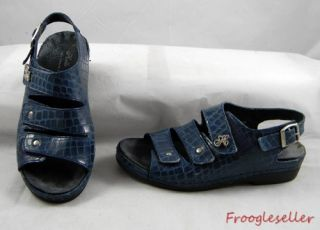 Helle Comfort Womens Slingback Sandals Shoes 6 5 M EUR 37 Blue Leather