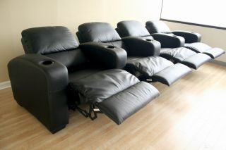 Leather Home Theater Seating   8 Black Kimera Seats Recliners Recline