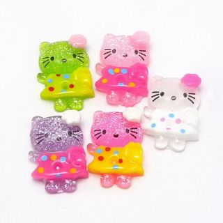 20x Mix Hello Kitty Flower Dot Resin Flatback Cabochons Scrapbooking