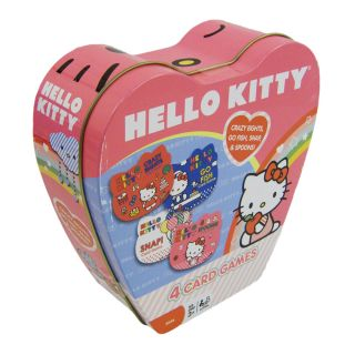 Hello Kitty 4 in 1 Ultimate Travel Game Set in Metal Heart Storage Tin