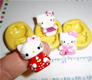 Hello Kitty Cat Flexible Push Mold for Resin Clay Candy Food Safe
