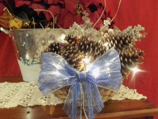 New Homemade Lighted Pine Cone Basket Christmas Christmas Decoration