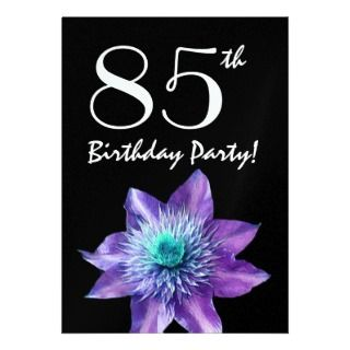 85th Birthday Party Template Purple Passion Flower Custom Announcement