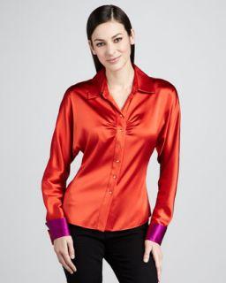 Draped Silk Blouse    Draped Silk Shirt