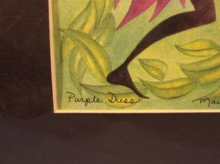 Nancy Hoke Maui Hawaii Print Native Woman in Purple Fruit Basket New
