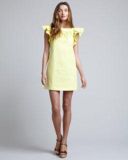 T5U22 RED Valentino Ruffle Sleeve Shift Dress, Lemon