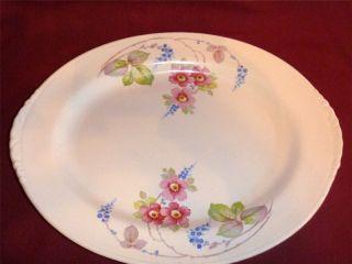 Homer Laughlin Nautilus Pink Rose Blue Floral Platter