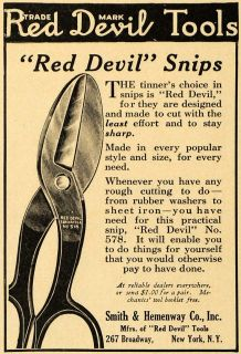1922 Ad Smith Hemenway Red Devil No 578 Snips Tools Original