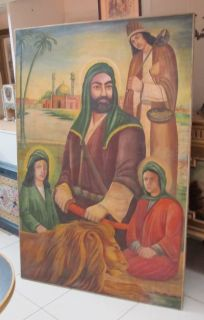 antique Imam Ali Hasan hussain Islam painting original oil on canvas