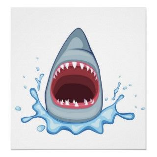 vectorstock_383155 Cartoon Shark Teeth hungry Print