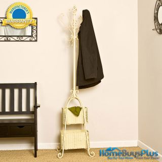 Tree w Rattan Baskets Metal Coat Hat Stand Rack Entry Foyer