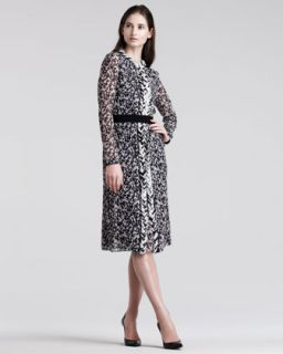 Giambattista Valli Tweed Print Chiffon Dress