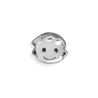 Cute Boy Bead Sterling Silver Little Boys Face Story Bead
