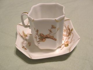 100 Year Old Haviland Limoges Napkin Fold Demitasse Cup Saucer w Gold