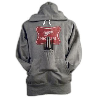 Miller High Life Beer Pouch Holder Heather Gray Hoodie