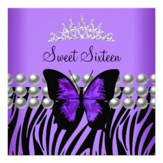 Sweet Sixteen 16 Party Zebra Pearl Butterfly Custom Invites
