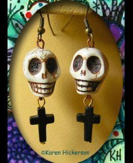 Hickerson Day of The Dead Skull Cross Boho Earrings