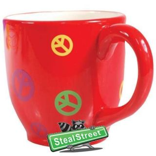 Red Coffee Mug with Frog Inside Cup Multicolor Peace Signs Design