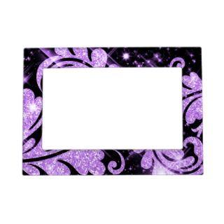 Elegant Faux Purple Glitter Floral Swirl Magnetic Frames