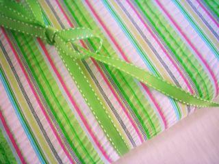 Multi Chambray Stripe Poplin ♥ Cotton Fabric Blue Pink