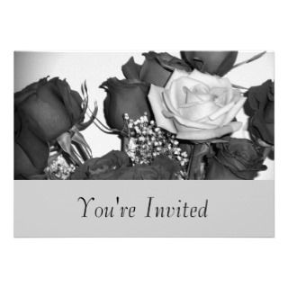 Black and White Rose Invitation