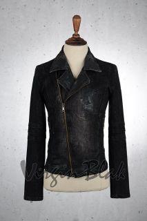 VB Homme Distressed Black Denim Biker Jacket 6GI