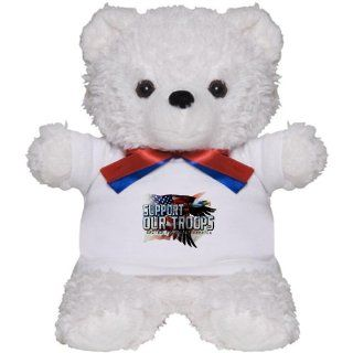 Teddy Bear White Support Our Troops US United States Flag