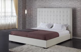 White Leather Square Headboard Bed King Modern Style Urban