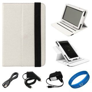 White Textured Leather Folio Case Cover with Fold to Stand
