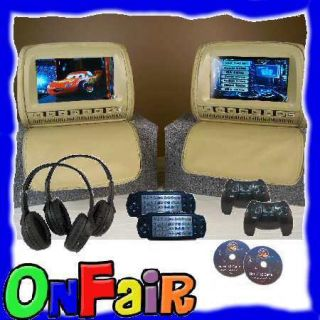 2x 9 TAN Car Headrest DVD Player Monitor Cover with Wireless