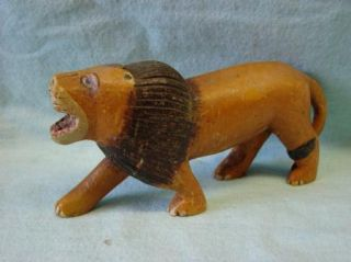 Antique Folk Art Primitive Carved Wood Lion Figure Figurine Childs Toy