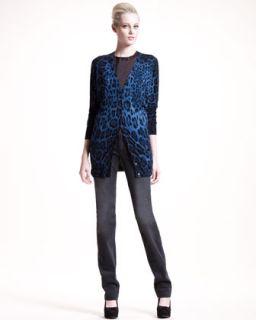 Dolce & Gabbana Long Leopard Print Cardigan, Print Trim Jersey Tee