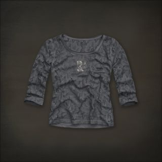 Hollister Women Grey Gray Sheer Lace Top Shirt Hobson Park Small