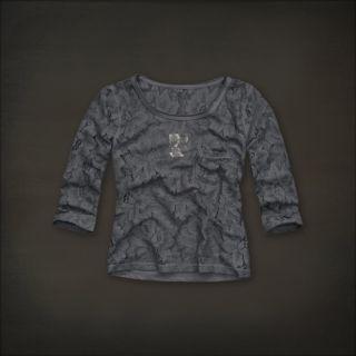 Hollister Women Grey Gray Sheer Lace Top Shirt Hobson Park Small