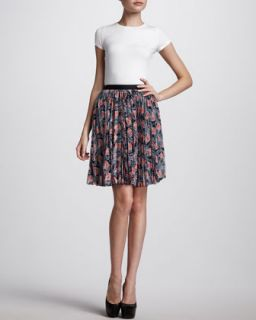 Pleated Floral Print Skirt, Navy/Coral