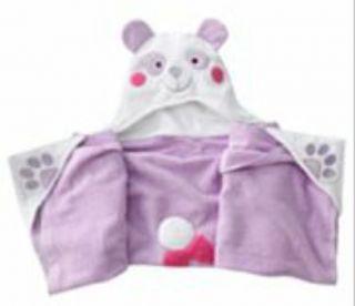 Amanda The Panda Purple Hooded Bath Towel Wrap Jumping Beans