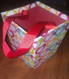 HEART BASKET WITH RIBBON HANDLE office home desk pencil cup love odds