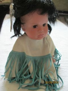 NATIVE AMERICAN Indian DOLL Signed PAPOOSE NUMBERED 26 PORCELAIN Gene