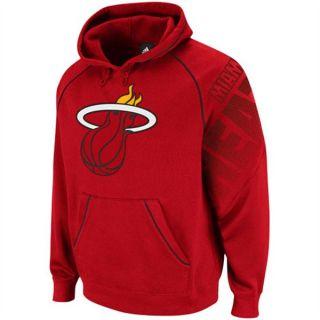 Miami Heat Adidas Red Hoops Hooded Sweatshirt Sz Medium