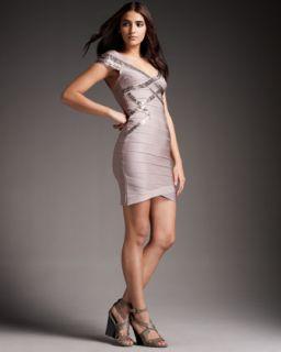 BCBGMAXAZRIA Sequined Cap Sleeve Dress