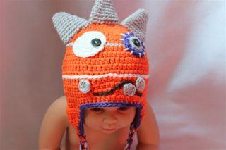 New Orange Monster Fantastic Animal Newborn Baby Child Knit Hat Cap