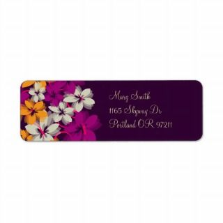 return address Blossoms & Swirls Plum Purple Labels
