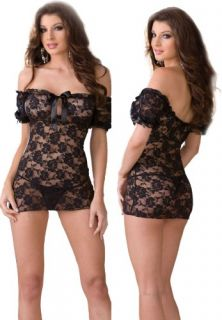 Sexy Sheer Black Lace Babydoll Lingerie Set   One Size